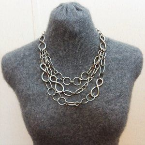 Chunky 80's Bold Statement Metal Link Necklace